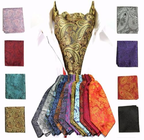 Paisley Cravat Ascot Tie & Pocket Square Floral Hanky Wedding Handkerchief